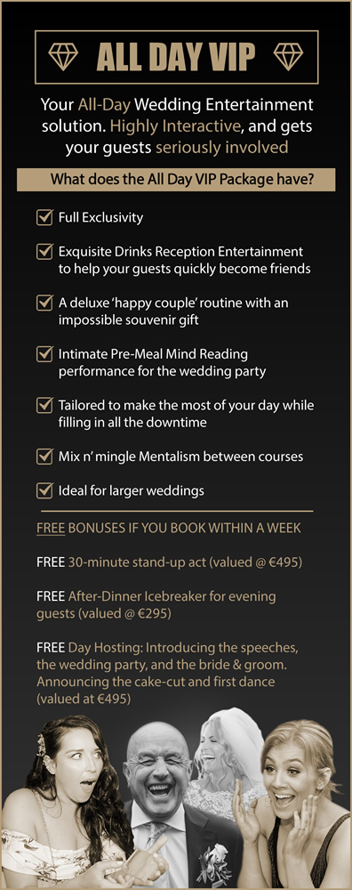 Mentalist Shane Black VIP Wedding Entertainment Service