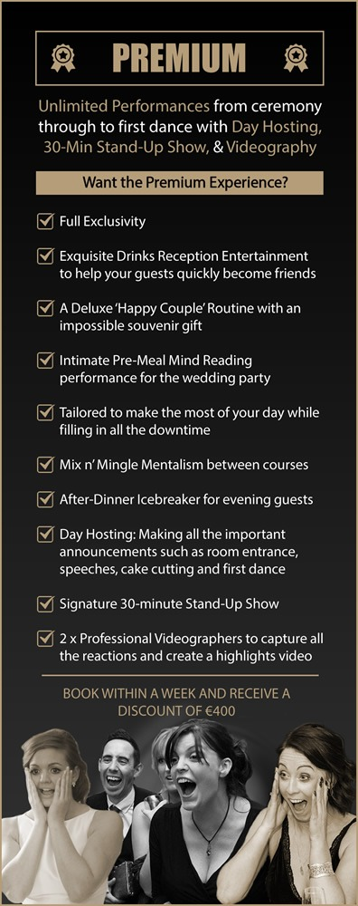 Shane Black Mentalist - Wedding Magician Premium Wedding Entertainment Package