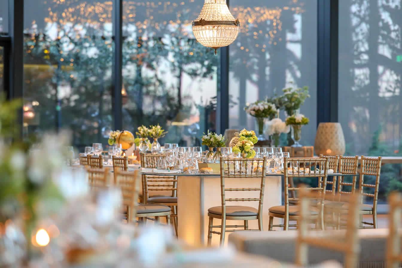 tables set at wedding venue