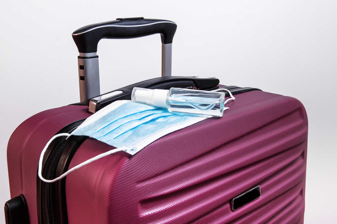 suitcase with face masks