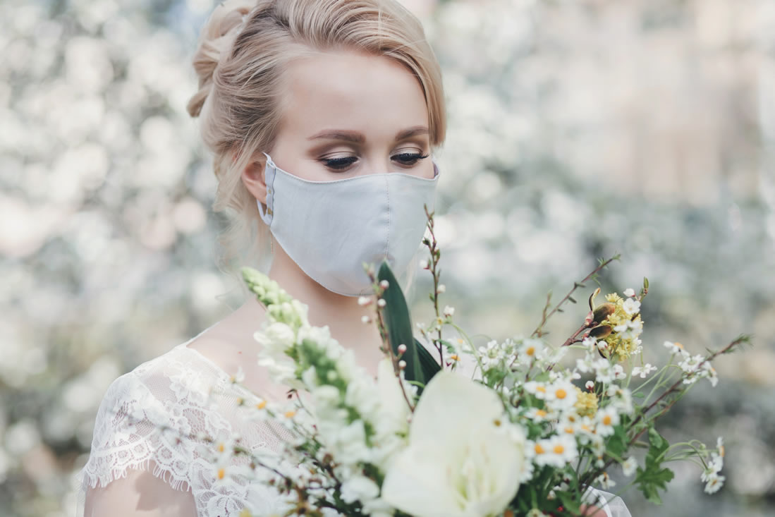 bride wearing protective mask